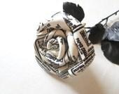 For Michael add for shipping Newspaper print Leather Rose -white black Flower, Long Stem rose ,Gift anniversary gift