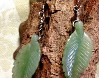 Carved Jade Leaf Earrings