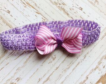 baby girl headband newborn headband toddler headband hair bow purple lavender hair bow headband little girl toddler headband hair bow
