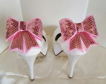 Wedding Shoe Clips,  Pink Sequins Shoe Clips, Satin Bow Shoe Clips, Bridal SHoe Clips, Womens Shoe Clips,Clips for Bridal Wedding Shoes