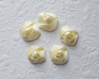 "Mini Cream Rolled Rose. Cream Satin Flowers. 7/8""  QTY: 5 Flowers"