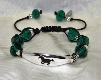 The Color of Money Black Braided Bracelets with Running Horse Bar