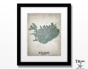 Iceland Map Art Print - Home Is Where The Heart Is Love Map - Original Custom Map Art Print Available in Multiple Size and Color Options