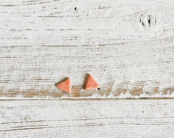 Ceramic Triangle Earrings, Coral, Unique Gift, Modern, Minimal, Gift for Her, Ceramics, Fashion, Unique Jewelry, Ceramic Jewelry