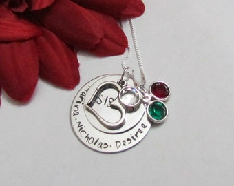 SISTERS Necklace with heart charm - Birthstone Necklace-  Hand Stamped Jewelry -- Gifts for sister - Birthday gift for sister - gift boxed