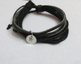 Black LEATHER BRACELET - Initial Personalized - His or Her Gifts - 1st communion - confirmation for boys Gift  - boys bracelet