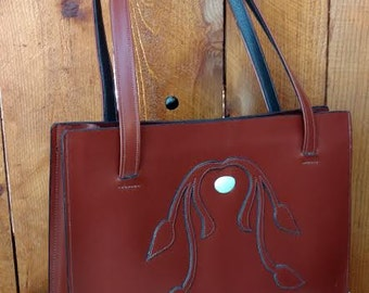 Hand Made Leather Shoulder Bag with Tourquoise Inlay