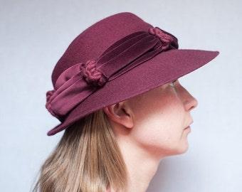 ON SALE Vintage Plum Felt Brimmed Hat with Velvet Trim