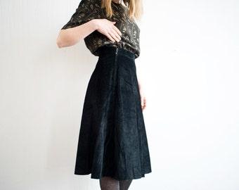 Vintage Black Velvet High Waisted Full Circle Midi Skirt