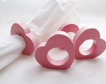 Wooden Pink Heart Napkin Rings, Set of Four Napkin Rings, Valentine Decor