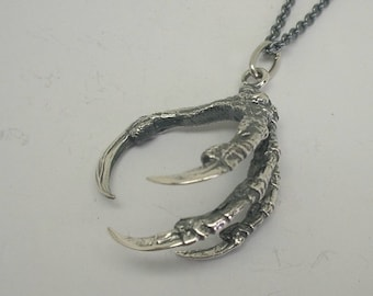 Jackdaw Claw Pendant, Sterling Silver