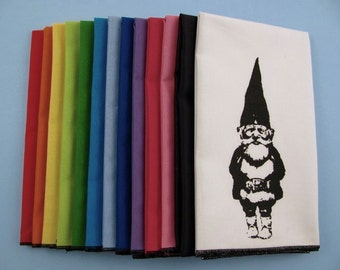 NAPKINS - super soft eco friendly reusable napkins - you choose how many - with GNOME print on any of my thirteen colors