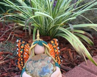 Woodland Fantasy Unicorn Goddess, with ocean jasper, feminine statue, clay goddess, polymer clay goddess, butterfly faerie, fairy