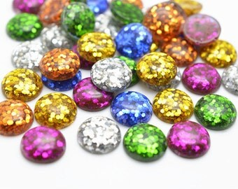 30pcs 12mm Miexed Resin Cabochons Blue Color Resin Cabochon Glitter Resin Cabochons 301