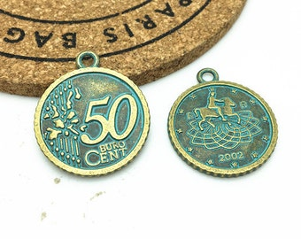 5pcs Antique Blue Bronze Rustic Patina Coin Charm Pendant 25mm 50 Cent H501-3