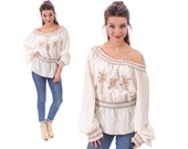 MEXICAN Embroidered Top 70s OPEN SHOULDER Ethnic Tribal Cream White Brown Hippie Shirt Tunic Top  Boho 1970s Bohemian Festival Retro Large