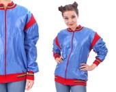 Retro Ski Jacket 70s SHINY Blue Coat Nylon Plain Knit Insulation Two Tone Striped Red Color Block Hipster 1970s Vintage Nerd Medium to Large