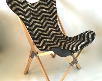 "Original ""Tripolina"" Butterfly Chair - Black + Gray Chevron Cowhide Patchwork Cover +  Wood Folding Frame Chairs"