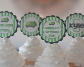12 Green & Black Garbage Truck Garbage Man Theme Birthday Cupcake Toppers - Ask About our Party Pack Sale - Free Ship Over 65.00