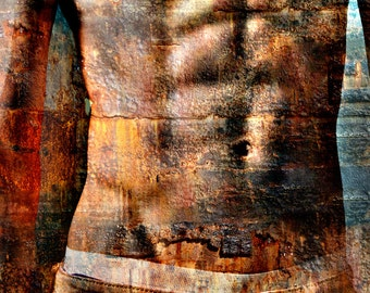 Jeans and Rust Gay Art Male Art Print by Michael Taggart Photography strong athletic chest abs