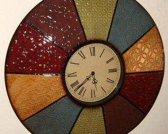 Upcycled, Wall Clock, Metal Wall Clock, Embossed Metal, Metal Wall Art, Domed clock, Farm House, Rustic,