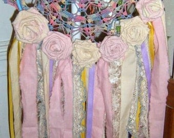 Dream Catcher, Crochet Doily, Fabric Roses, Ribbons, Shabby Chic, Wall Hanging, Multi Colored, Wall Art