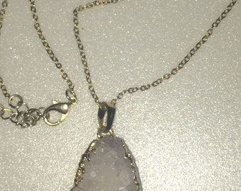 Homemade Druzy Quartz Crystal Gold Dipped Pendant Necklace