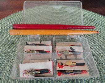 B161)  Vintage Speedball Pen Nibs with Wood Handles