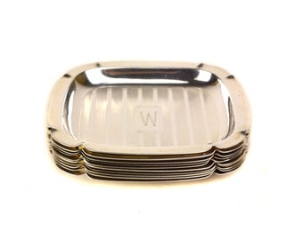 10 Webster Sterling Silver Ash Trays Dish Set // Vintage Art Deco Tobacciana // Set of 10, Monogrammed W or M Ashtrays // 218 grams