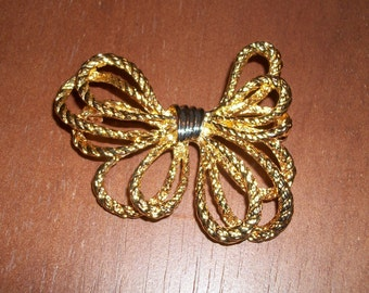 Gold-tone Rope Bow Brooch/Pin