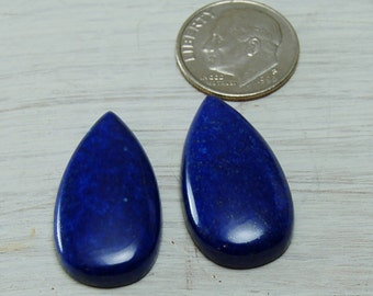 AA Blue Lapis Lazuli teardrop cabochons Matched pair! 15mm X 28mm
