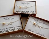 Infinity bracelet gift set, Mother of the bride and mother of the groom bracelet gift set, three bracelets, STERLING SILVER, wedding gifts