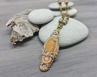 Hamsa Hand Talisman Necklace - Sculpted Polymer Clay and Beach Stone Protection Necklace