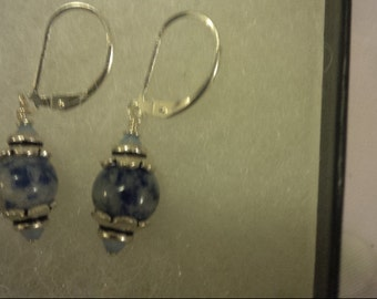 denim lapis stones on sterling silver leverback with swarovski crystal and sterling silver bead caps 5.00 coupon code and free shipping