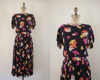 Vintage 1980s Midnight Morning Glory Dress / 80s black polka dot floral 1940s style dress / Small S Medium M