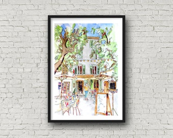 France Cafe Life - Provence - Tourtour - Cafe - Print
