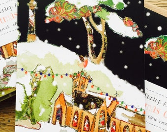 Church - Church Design -Winter Church Scene - Christmas Cards PACK of 10