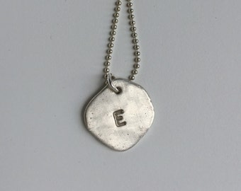 Handstamped Initial Necklace Sterling Silver