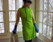 Mod Lime Green Mini Dress/Vintage 1960s/Neck Tie With Rhinestone Collar/Size Small