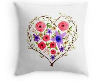 Floral Heart, Original Watercolour Art, Throw Pillow Case w/optional insert, Home Decor, Red, Purple, Green, White, Unique Gift