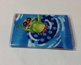 Frog Handmade Debit Card Holder, Mother's day gift, Birthday gift, Mini Wallet, Credit card case, Business card holder, Gift card holder