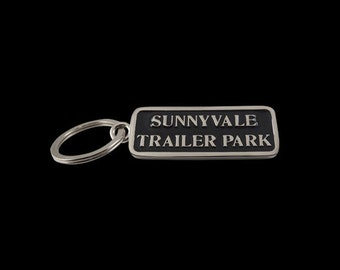 Heavy Nickel Plate Over Solid Brass Hand Enameled Sunnyvale Keychain – Trailer Park Boys - Free Shipping