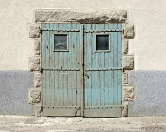 Rustic Door Photograph, Grey, Blue, French Door, France, Travel Photography, Minimalistic Home Decor, Shabby Chic, Large Wall Art, Neutral