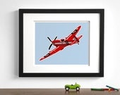Baby boy nursery, airplane art  - Spitfire - - pick your colors - art for boy's room wall art retro childrens art prints