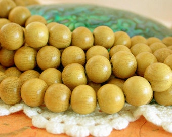 10mm Wood Beads, Nangka Wood Beads, Natural Undyed Wood Beads, Natural Beads, Recycled Wood Beads NAT-148