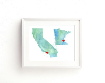 Mother's Day Gift Two States Love - Watercolor Wedding Gift  - Personalized State Heart Natural Series - Custom Location Modern Art Print