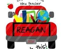 Back to School Farm Truck Let's Do This! Digital Download for iron-ons, heat transfer, Scrapbooking, Cards, Tags, Signs, YOU PRINT