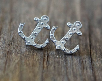 Silver Anchor Earrings / Sterling Silver Post Earrings / Silver Matte Anchor Earrings / Dainty Earrings