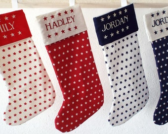 Personalized Embroidered  Nautical Stars Christmas Stocking -   Holiday Christmas Noel Decor