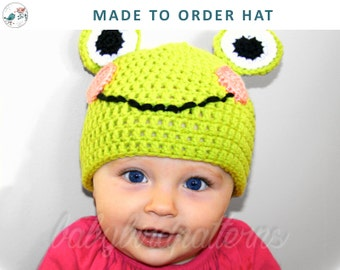 Smiley Frog! Made to Order Crochet frog hat for babies and toddlers